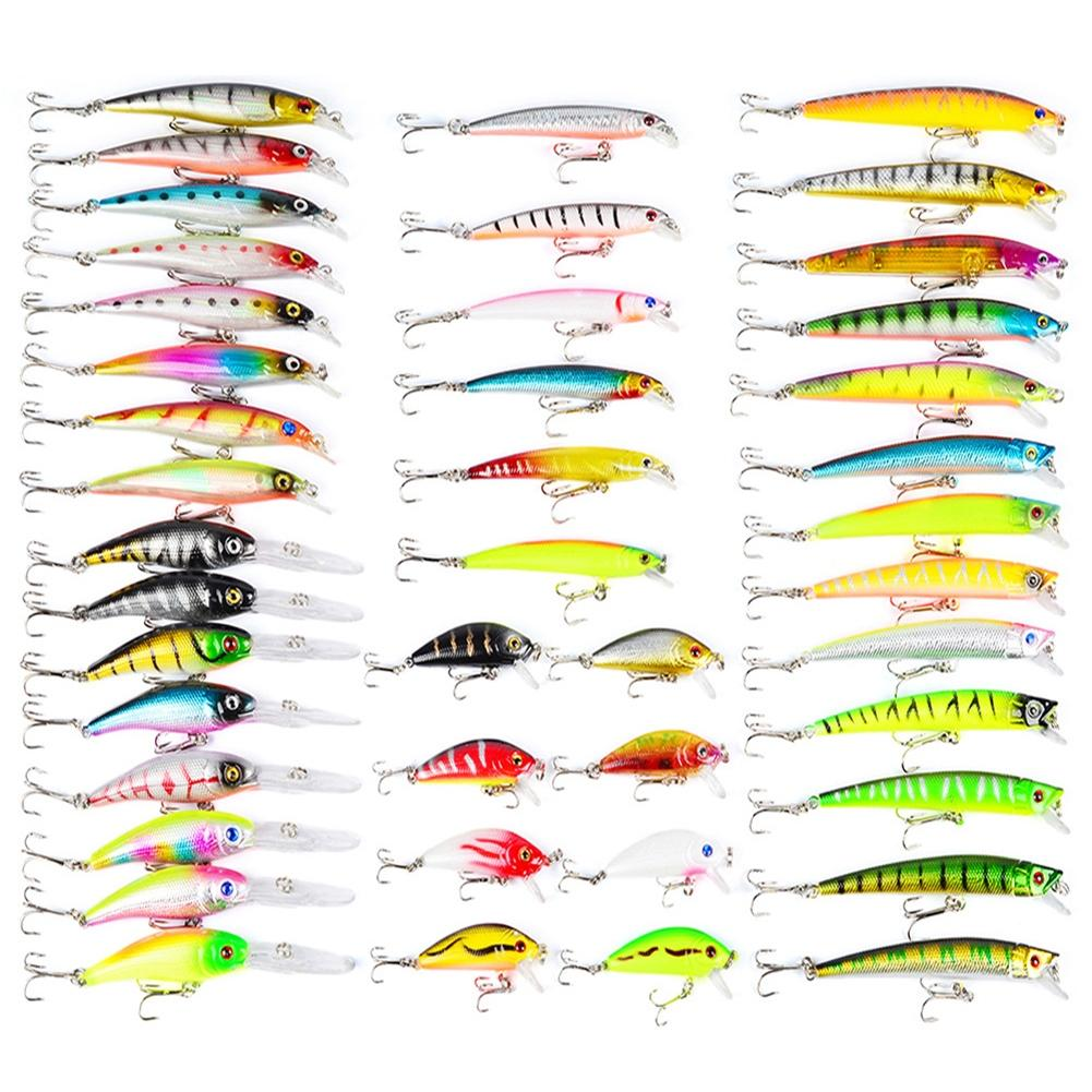 LumiParty 43 Pcs Colorful Fishing Lure Tackle Artificial Minnow Crank Baits Imitation Fish Shape Lure with Fishhook 30pcs set fishing lure kit hard spoon metal frog minnow jig head fishing artificial baits tackle accessories
