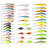 Mounchain 43 Pcs Colorful Fishing Lure Tackle Artificial Minnow Crank Baits Imitation Fish Shape Lure with Fishhook