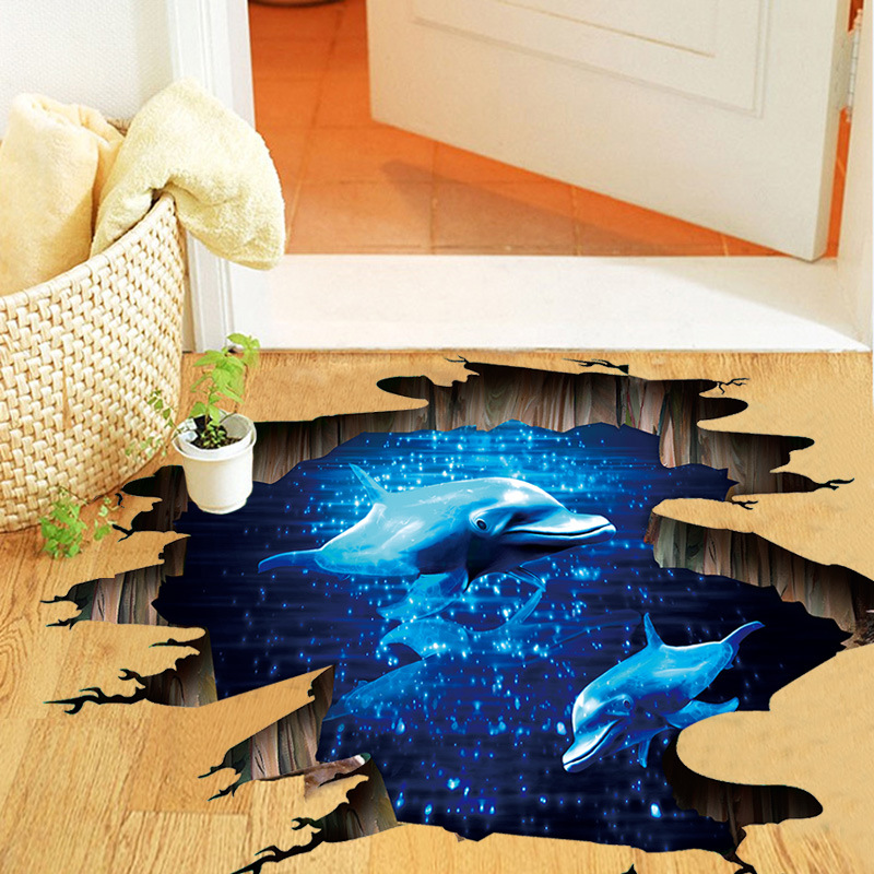 3D Floor Stickers Blue Ocean 3D Dolphin Wall Sticker Ceiling Wall Decor Living Room Muraux Wall Stickers For Kids Rooms