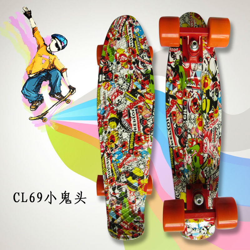 Image 4 - Colorful 22 Inch complete banana board With Color mixed pattern for Girl and boy to Enjoy the skateboarding Mini rocket board-in Skate Board from Sports & Entertainment