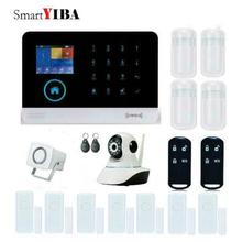 SmartYIBA WIFI 3G GPRS Wireless Home Security Alarm System Blue Flash Siren IP Camera Surveillance Alarm Kits SMS Alarm Kits