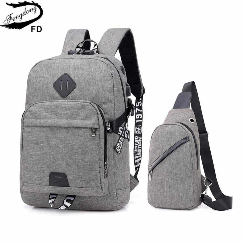Fengdong teen boys school backpack anti theft simple school bags for men password lock laptop backpack usb chest bag set bagpack