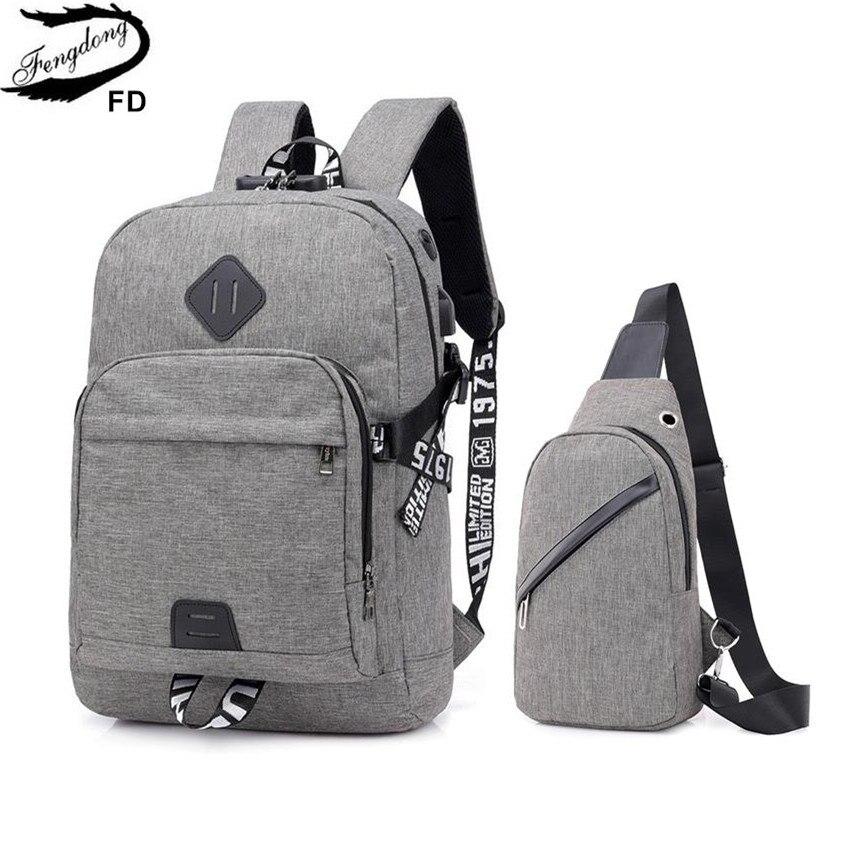 Fengdong Teen Boys School Backpack Anti Theft Simple School Bags For Men Password Lock Laptop Backpack Usb Chest Bag Set Bagpack