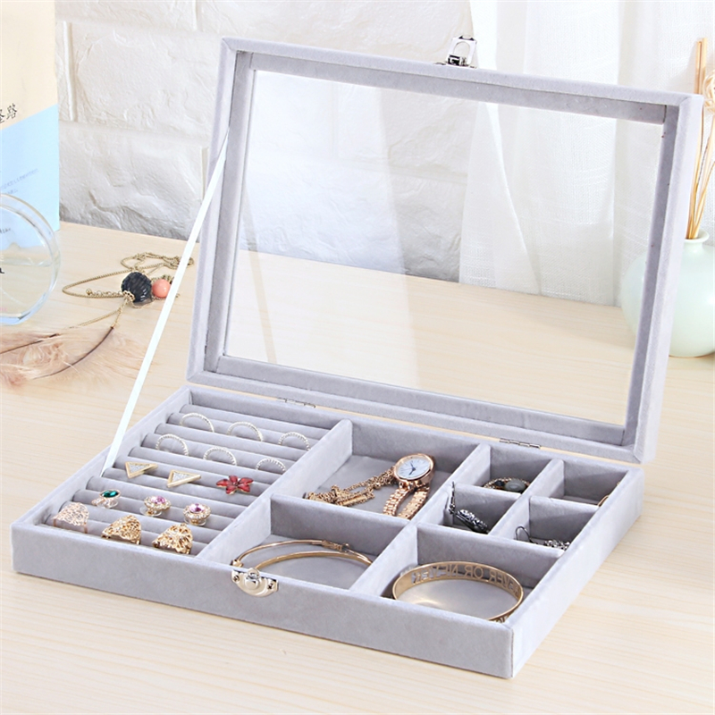 285*200*50mm Gray 8 Booths Velvet Carrying Case with Glass Cover Jewelry Ring Display Box Tray Holder Storage Box Organizer afs jeep autumn jeans mens straight denim trousers loose plus size 42 cowboy jeans male man clothing men casual botton page 8
