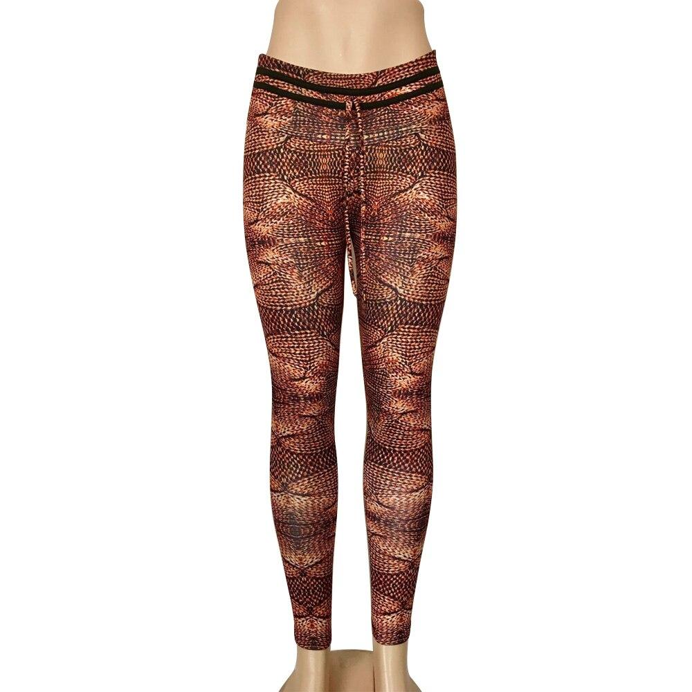 Fashion Leggings Brown Digital-Printing Fitness High-Waist Female Women New Casual -912