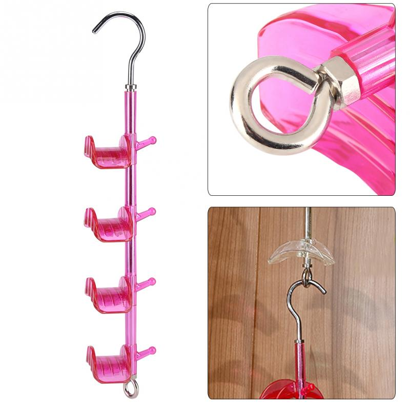 Bathroom Hardware 1pc Rotatable Plastic Hooks Handbag Holder 4-hooks Purse Bag Hanger Hanging Rack Storage Organizer Shelf Hanger Hanging Rack