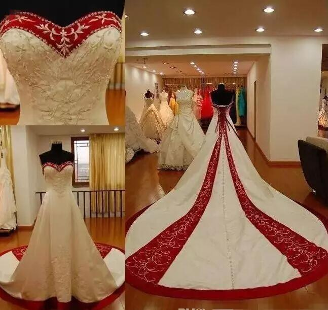 Traditional Embrodery Bridal Gowns Sweetheart Corset Back Cheap Red and White Wedding Dresses