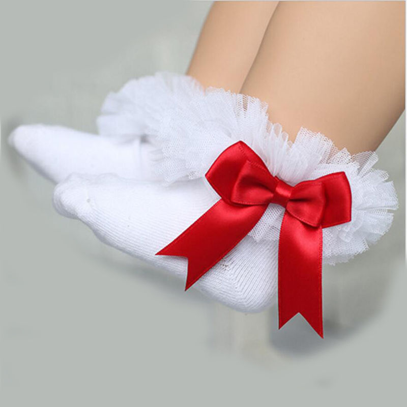 0 6Y Princess Kids Socks Short Girls Baby Socks Silk Ribbon Bowknot Lace Ruffle Cotton Ankle Socks Photography Props D35 in Socks from Mother Kids