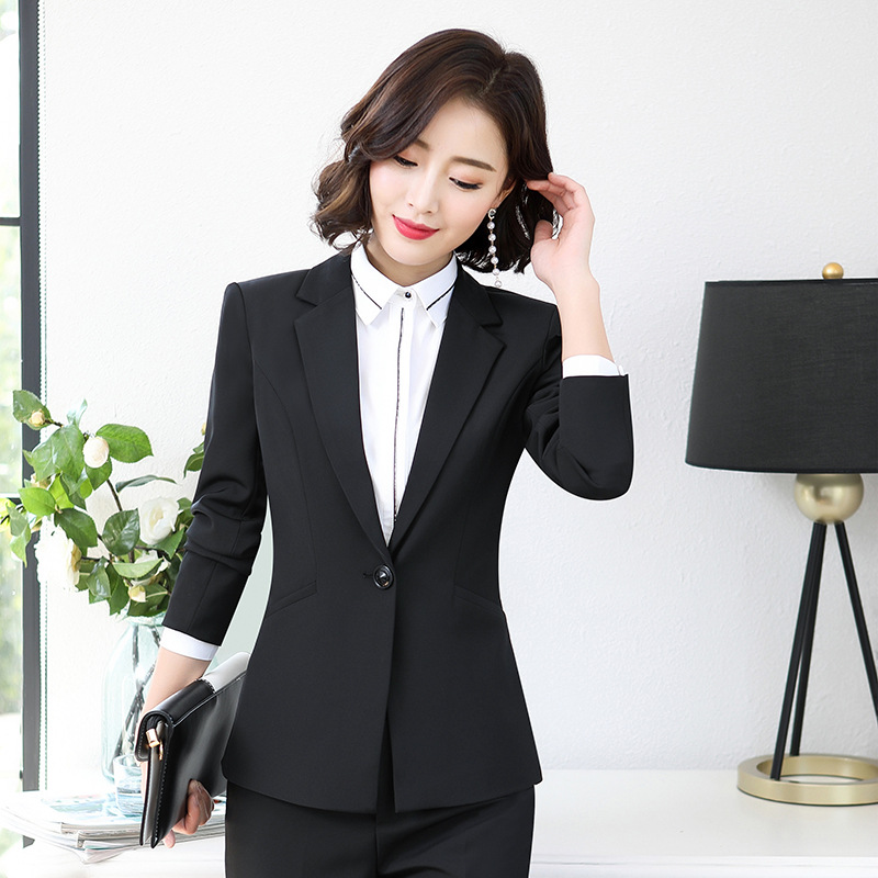 Set female 2019 new spring professional wear temperament ol suit jacket trousers two sets of solid color wild women's clothes