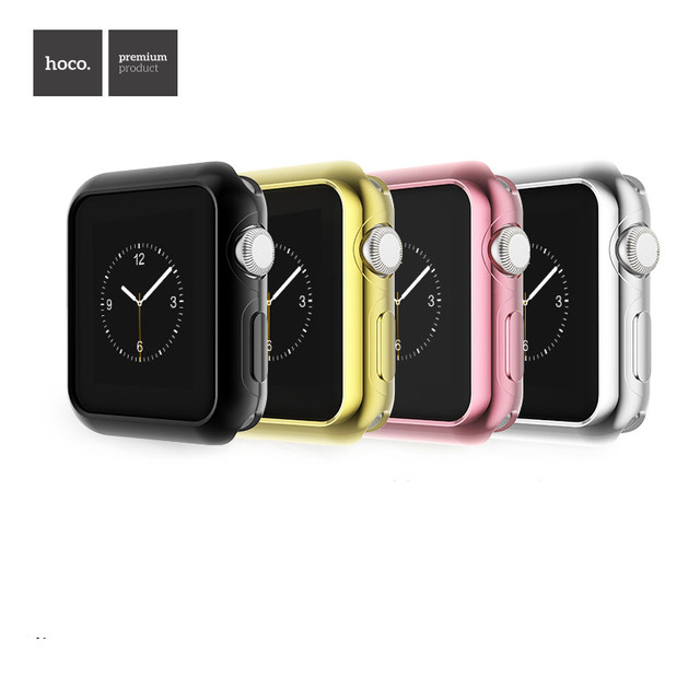 321ba15e57a7c4 HOCO Gold Plating Soft Silicone Case for Apple Watch Series 2 Cover for  iWatch 2nd Protective Cover TPU Shell 42mm 38mm Band