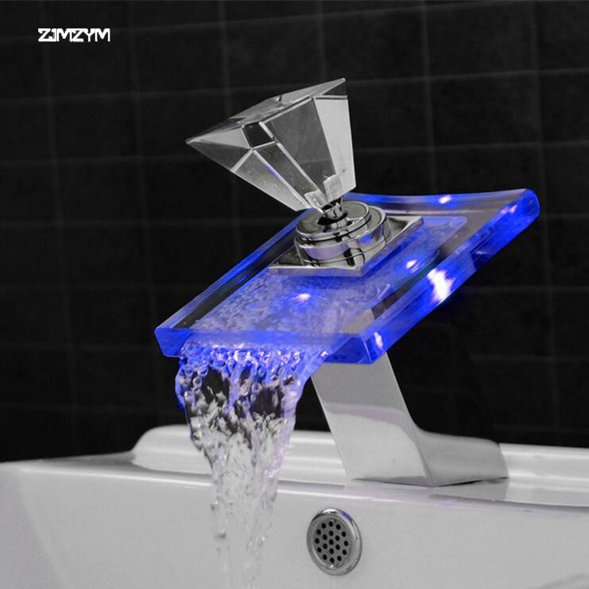Hot and cold water copper crystal Glass Waterfall Basin Faucet LED Color Changing Bathroom Battery Mixer Tap Chrome Finish led color changing brushed nickle basin faucet hot and cold water faucet waterfall spout dual handle tap