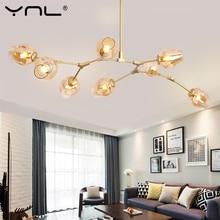 Modern LED avizeler cam lamba oturma odası Villa giyim asılı lamba kapalı dekor LED avize aydınlatma mutfak armatürleri