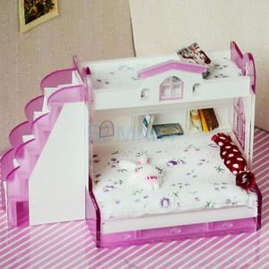 Image 2 - 1/12 Scale Dollhouse Miniature Double Bunk Bed Model for Dolls House Bedroom Furniture Life Scenes Decoration Room Accessory #2