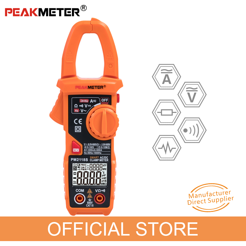 Clamp Meter PEAKMETER PM2118S Portable Smart Multimeter AC DC Current Voltage Resistance Continuity Measurement Tester with