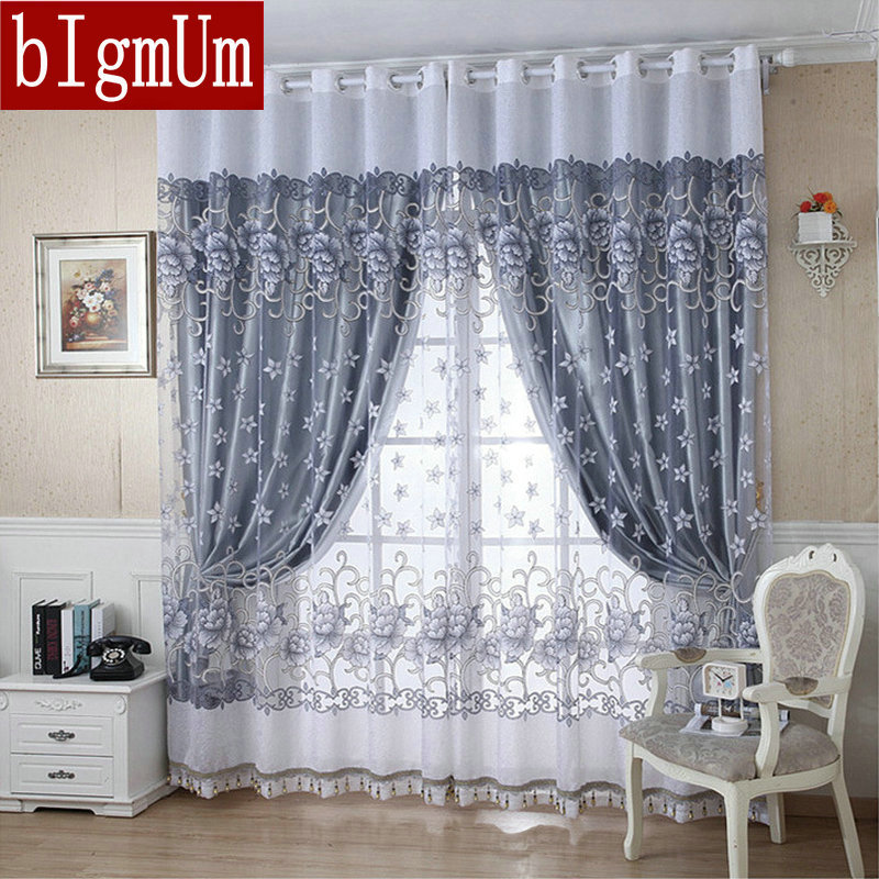 2015 New Arrival Ready Made Luxury Curtains For Living Room/Bedroom Tulle+ Thick Curtains Purple/Brown Free Shipping