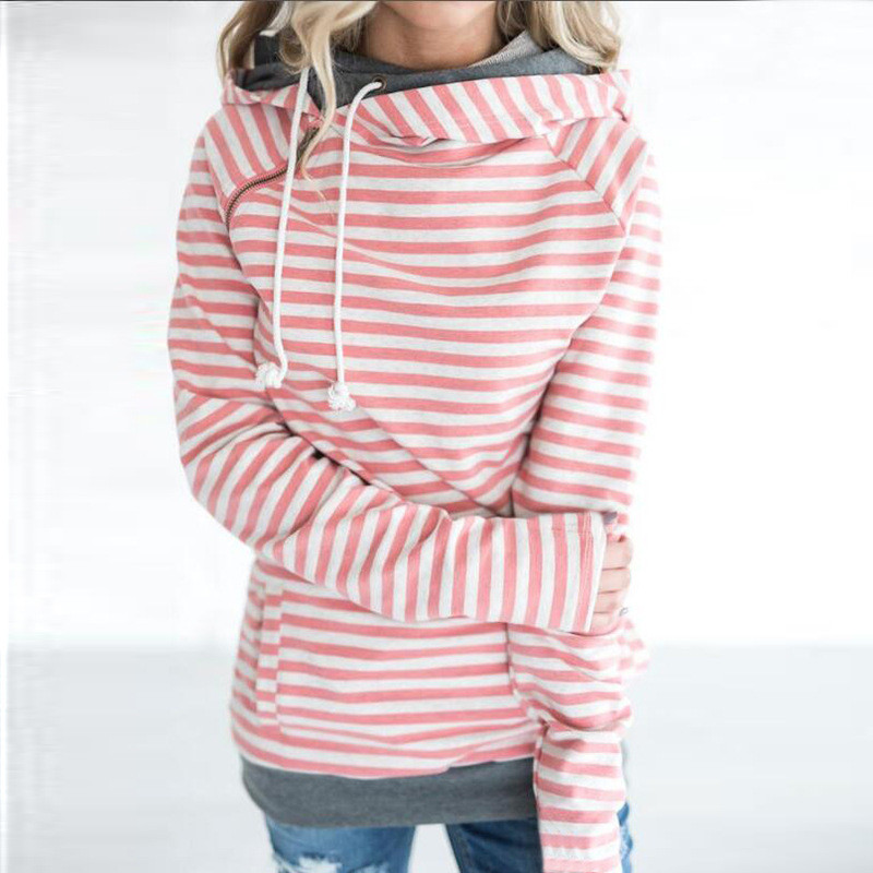 12 Color Big Size Women Hoodies Long Sleeve Striped Patchwork Pockets Zipper Sweatshirts Tops Autumn Winter Casual Slim Pullover