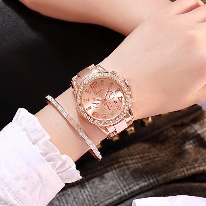 Women Watches Gold Calendar Crystal Casual Quartz Watch Women Full Stainless Steel Watches Ladies Wrist Watch Relogio Feminino