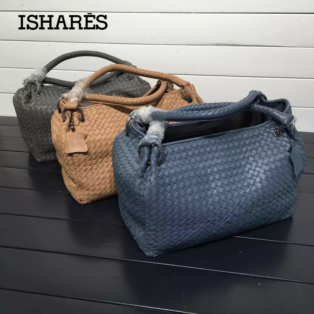 ISHARES sheepskin parachute pack genuine leather handbags brand designer  knitting casual totes woven shoulder bag IS222322 8db4a251a0