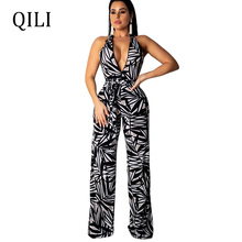 QILI Sexy Deep V neck Sleeveless Jumpsuits Rompers Leaves Print Straight Wide Leg Loose Jumpsuit New Summer Fashion Jumpsuits цена