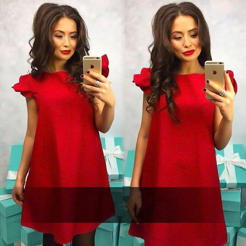 A-line O-neck Mini dress