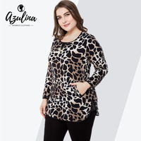 Rosegal Plus Size Women Leopard Print Long Sleeve Side Slit T Shirt Female Casual Zipper Pocket Ladies Tops Tshirt Woman Clothes