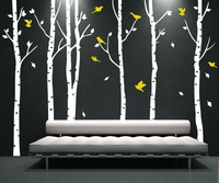 XL большой 6 деревьев и 11 птиц Стикер Стены Птица Виниловые Наклейки для Стен Coulful Украшение Наклейка Фреска Наклейки