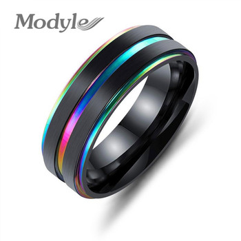 Modyle 2019 Brand New Black Stainless Steel Men Finger Rings Multicolor/Gold Color Cool Male Rings Gift Unique Engrave Jewellery 1
