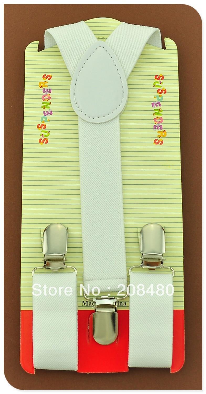 Free Shipping-2.5x65cm white color Kids Suspenders Children/Boys/Girls Elastic Braces Slim Suspender/gallus-Wholesale & Retail
