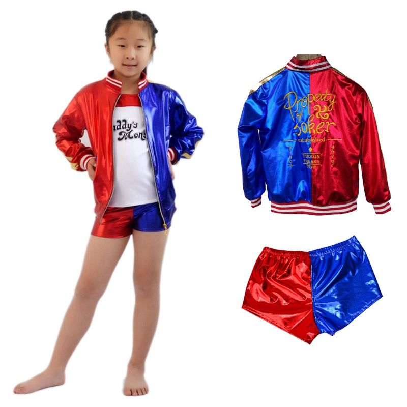 Suicide Squad Cosplay Costume Kids Harley Quinn Cosplay Jacket Shirt Shorts Full Sets Sexy Halloween Party Costume