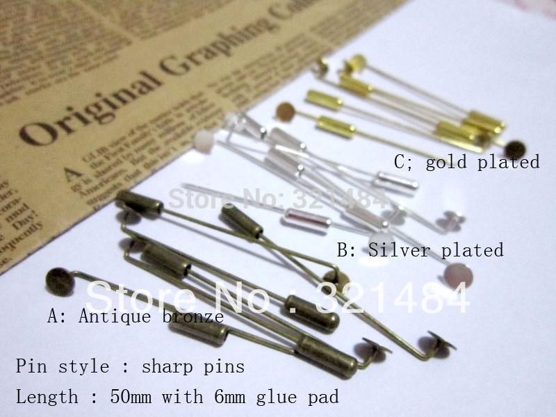 300pcs Silver Plated/Gold Plated/Antique Bronze w/ 6mm glue pad 50mm stick khaleeji pins, muslim hijab pins safety scarf pins