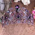 Luxury Violet Crystal Queen Princess Tiaras Crown Noble Purple Rhinestone Diadem For Bride Hair Vine Wedding Hair Accessories