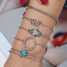 HOCOLE 2019 Fashion Bohemian Flower Palm Chain Bracelet Sets Female Jewelry Handmade ZA Silver Bracelets For Wome