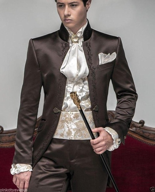 2017 New Style Hot sale Groom Tuxedos Wedding Suits Men lace embroidered Mandarin Collar clothes Blazer Jacket+Trouser