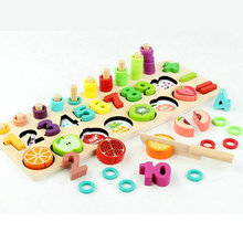 Three-in-one Montessori teaching game Kids Wooden toy 1-10 digital puzzles Classic Magnetic Fruit Segmentation Baby puzzle gift