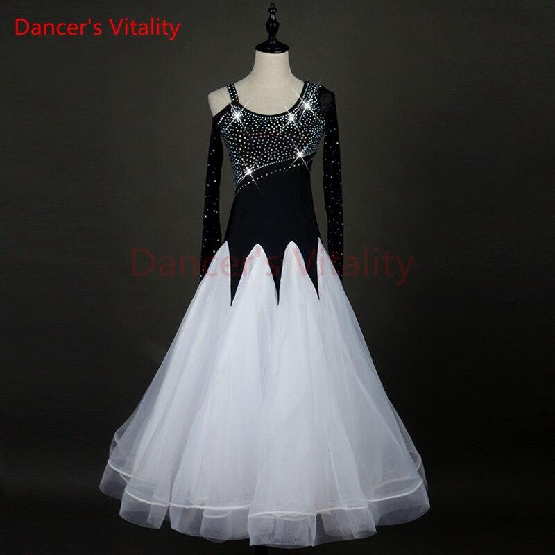 Dancer s Vitality Ballroom Dance Competition Dresses Long Sleeves Lotus Side Standard Ballroom Dress For Girls