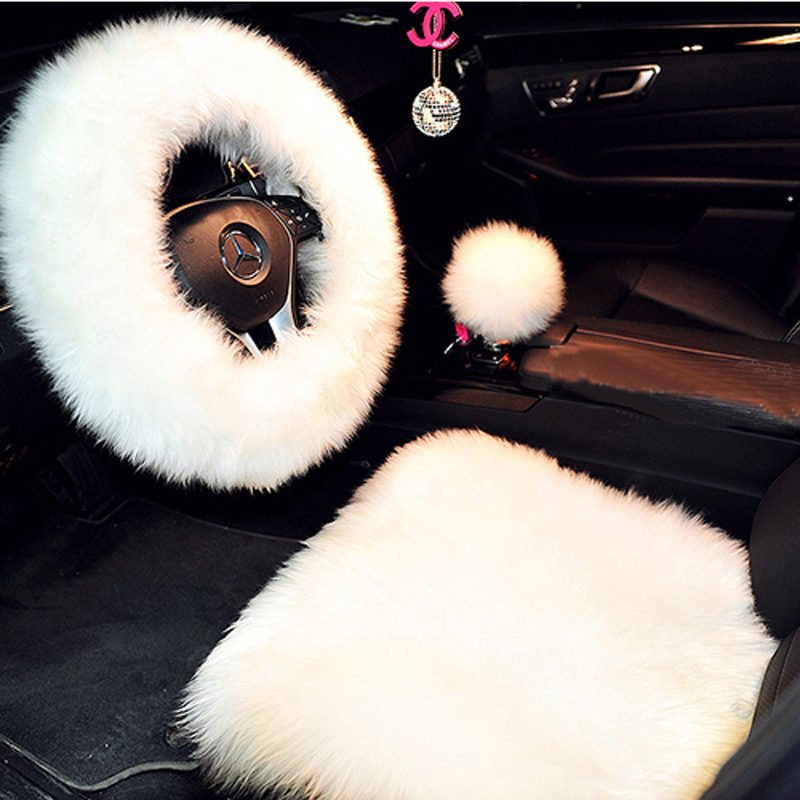 3 Pcs Car Seat Cover Shift Knob Cover Steering Wheel Cover Woolen Sheep Fur Plush Change