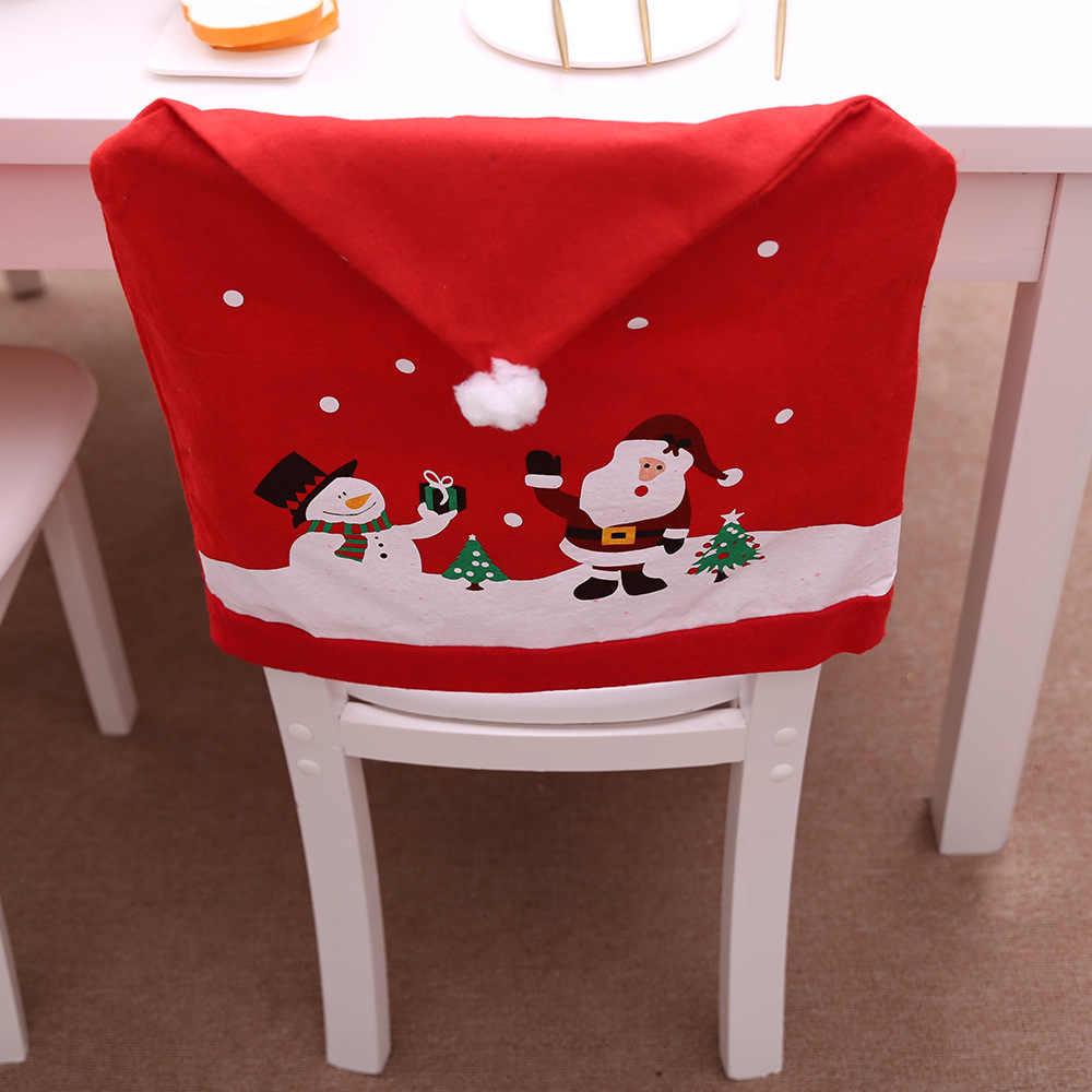 1 шт. Новый Рождественский праздничный стул с принтом, крышка для обеденного нетканого полотна, красная шляпа с шариковой спинкой, чехол для кухонного декора, год