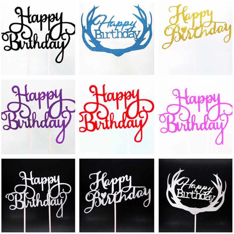 1pcs Multi-color Cupcake Cake Topper Happy Birthday Cake Flags Double Stick For Family Birthday Party Baking Decoration Supplies