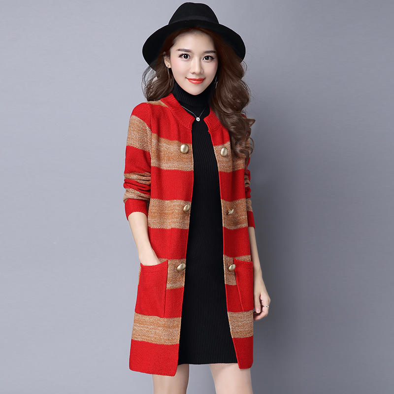 Knitted cardigan in 2017 Large size loose wild spring coat thick sweater tide Korean version of new spring