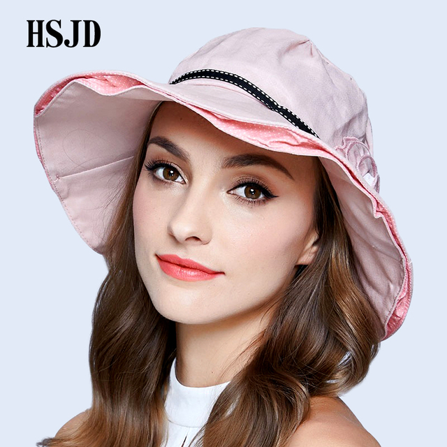 Women Cloth Sun Hat Flower and Ribbon Wide Brim Foldable Sun Cap 2018  Summer New Female 991892af98e5