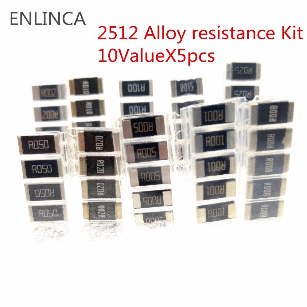 50PCS Alloy Resistance Kit 2512 SMD Resistor Samples Kit 10 KindsX5pcs=50pcs R001 R002 R005 R008 R010 R015 R020 R025 R050 R100