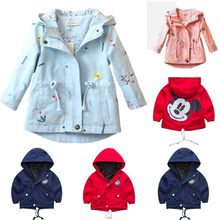 Children's Flower Coat Spring and Summer New Girls Flower Embroide Hooded Long Jacket Shirt Baby Children's Jacket Clothing(China)