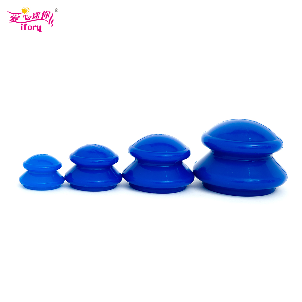 4Pieces/Set Silicone Massage Cup Natural Silicone Cupping Treatment Facial Body Cupping Cup Moisture Absorber Vacuum Cupping