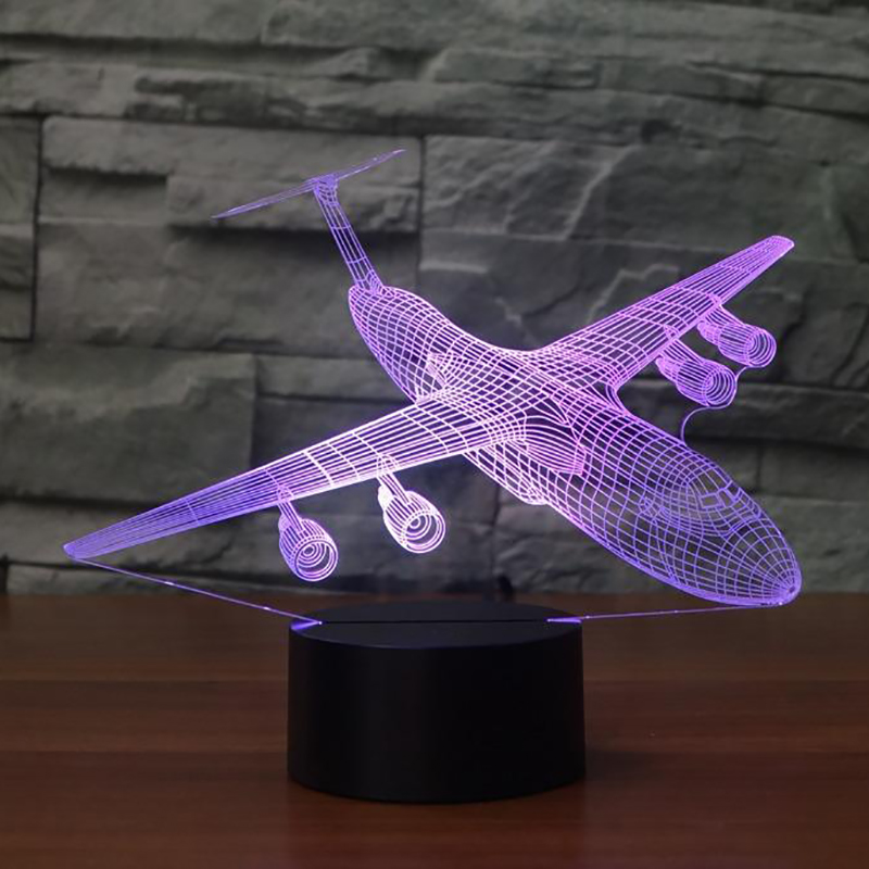 Aircraft 3D Night Light LED 7 Colors Changing Air Plane Table Lamp USB Baby Sleep Lighting Bedroom Bedside Decor Xmas Kids Gifts in Night Lights from Lights Lighting