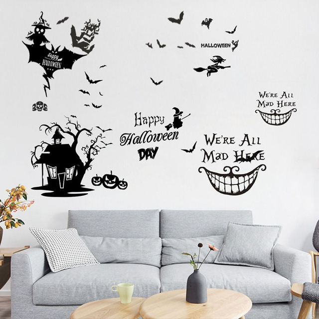 bat living room color paint schemes happy halloween witch ghost cat wall stickers for window glass smile face decor home vinyl mural art decals