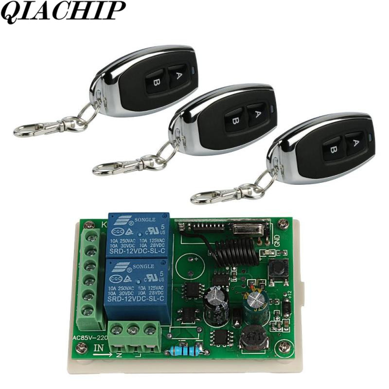 Universal Wireless 433Mhz AC 250V 110V 220V 2CH Relay Receiver Module Remote Control Switch and 3pcs RF 433 Mhz Remote Control D wireless pager system 433 92mhz wireless restaurant table buzzer with monitor and watch receiver 3 display 42 call button