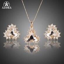 Oro De Lujo Plateó AZORA Stellux Cristal Austriaco Pendientes de Gota y Colgante de Collar de Sistemas de La Joyería TG0180