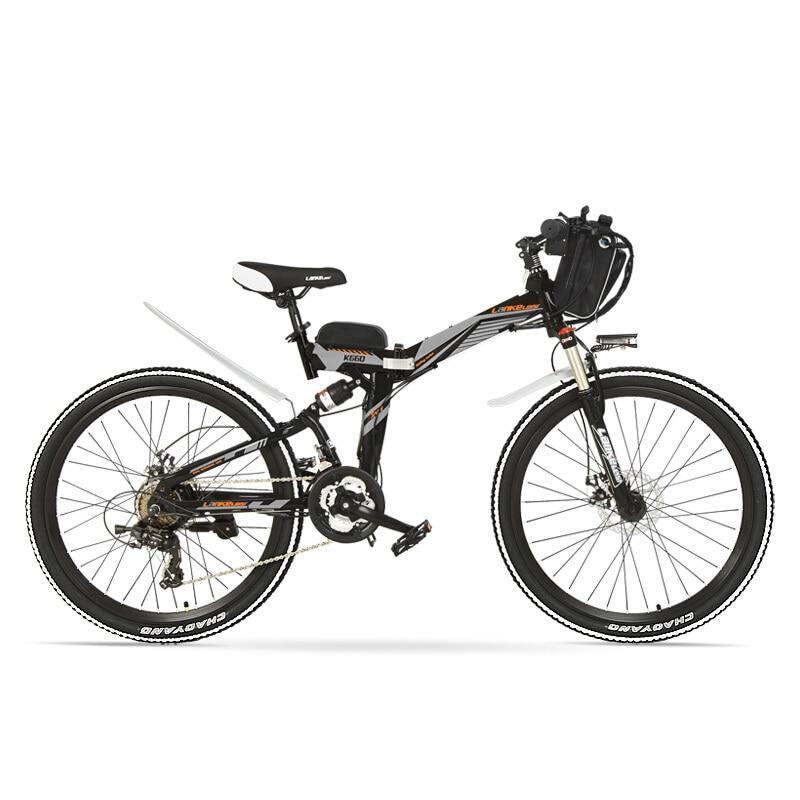 K660 Powerful Folding Electric Bike, 48V 240W Mountain Bike, Full Suspension, High-carbon Steel Frame, Disc Brake.