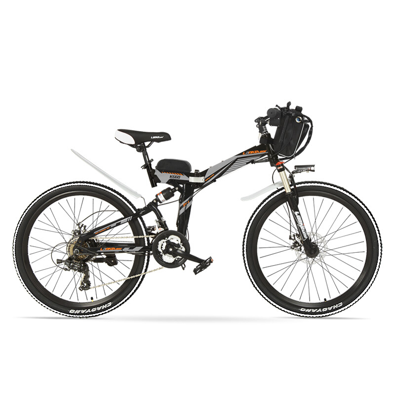 K660 Powerful Folding Electric Bike, 48V 240W Mountain Bike, Full Suspension, High-carbon Steel Frame, Disc Brake. image