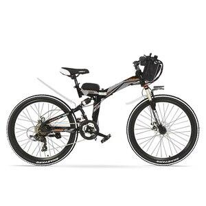 K660 bicicleta elétrica dobrável poderosa, 48 v 240 w mountain bike, suspensão total, quadro de aço de alto carbono, freio a disco.